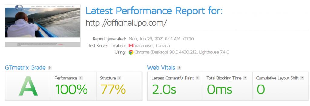 analisi gtmetrix officina lupo.com